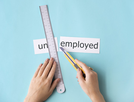 Unemployed Hand Cut Word Split Concept 版權商用圖片