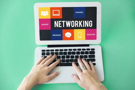 reminding: Media Technology Online Digital Networking Concept Stock Photo