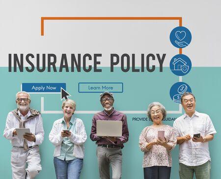 asian man laptop: Insurance Life Reimbursement Protection Concept Stock Photo