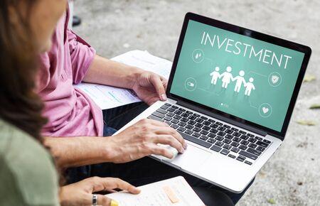 asian man laptop: Insurance Coverage Mix Reimbursement Protection Concept Stock Photo