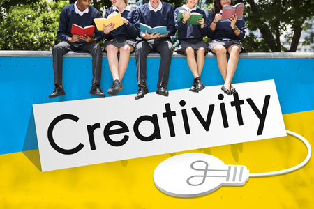 working on school project: Fresh Ideas Imagination Inspiration Concept