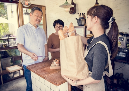 Small bakery business buying customer Stock Photo