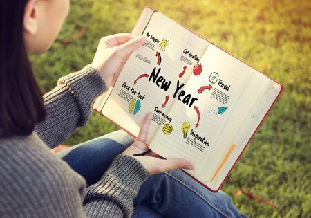 Nieuwjaar Plan Doelen Concept Stockfoto