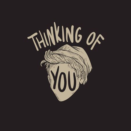 thinking of you: Thinking of You Word Graphic Concept Illustration