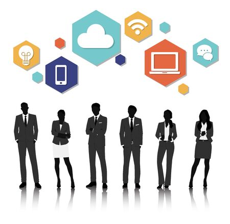 mature adult: Vector UI Illustration Business People Concept