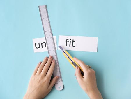Unhealthy Hands Word Cut Split Concept