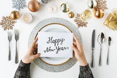 Feliz año nuevo la frase celebración palabra Foto de archivo - 72035999