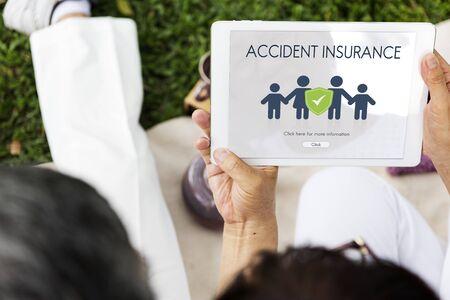 asian family: Family Insurance Reimbursement Protection Concept