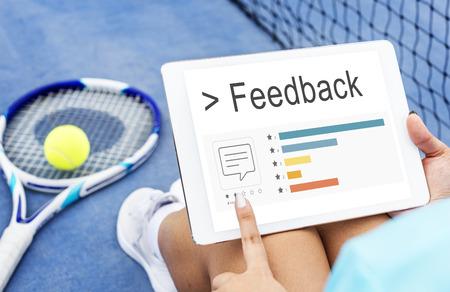 concepto de realimentación de informe de encuesta de comentarios de comentarios