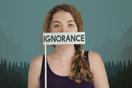 Woman with ignorance concept Foto de archivo - 111781654