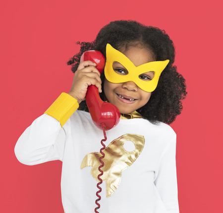 Superhero girl with telephone concept