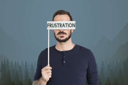 Man with frustration concept Stock Photo