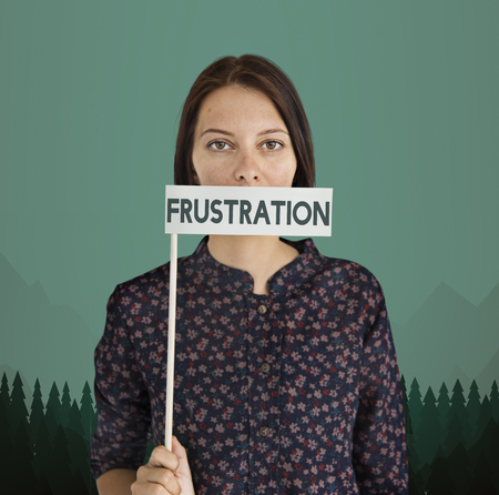 Woman with frustration concept Stock Photo