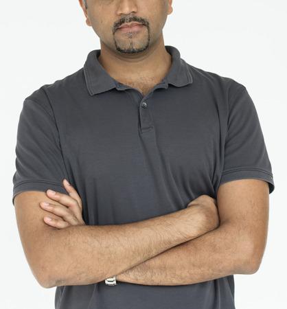 Indian guy arms crossed studio portrait