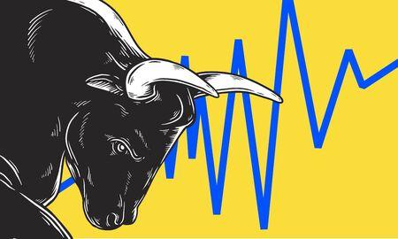 Bull Market Artwork Icon Business Concept 矢量图像