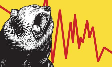 Bear Market Icon Symbol Vector Concept 일러스트