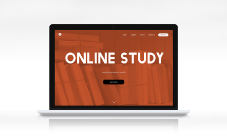 distance: Distance learning online webpage interface Stock Photo
