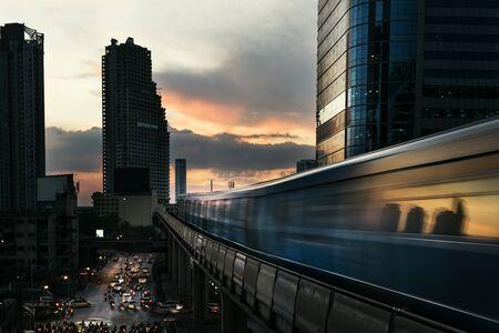 Skyline Cityscape Building Sunrise Twilight Stock Photo