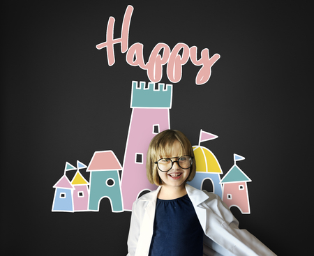 geeky: Children Enjoy Castle Joyful Concept Stock Photo