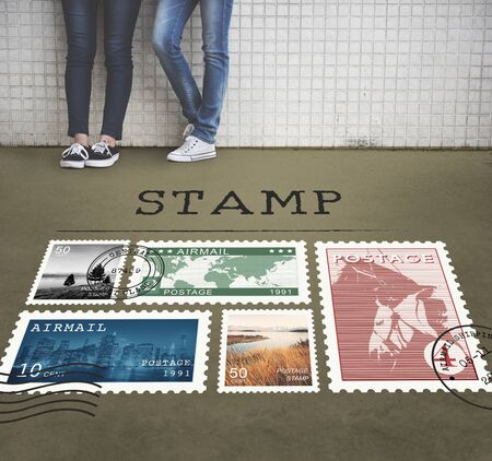 postage stamp: Postal Postage Mail Package Stamp Concept Stock Photo