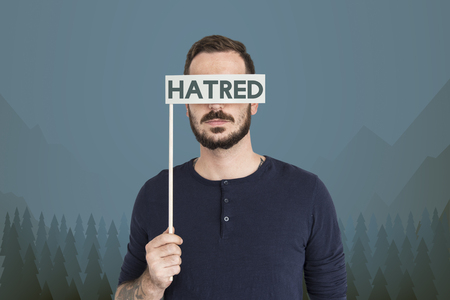 Man with hatred concept