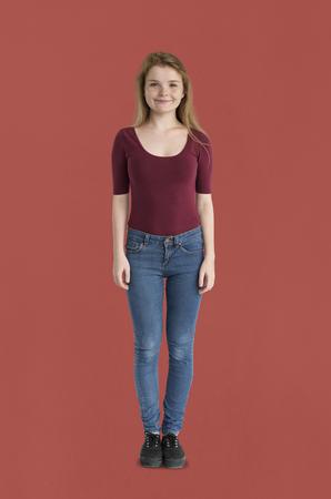 Caucasian girl standing Stock Photo