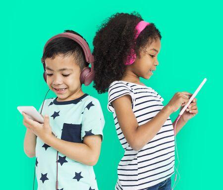 Little Boy Girl Listen Music Entertainment Studio Stock Photo