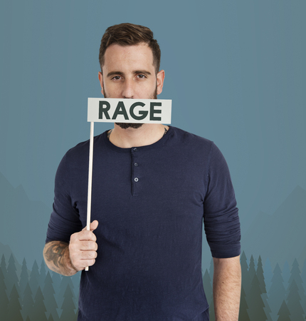 Man with rage concept Stock Photo