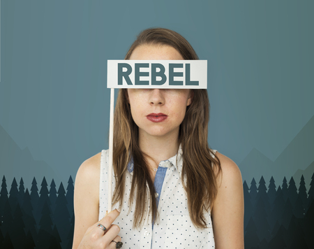 Woman with rebel concept