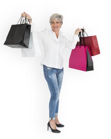 여자 웃는 행복 Shopaholic 초상화