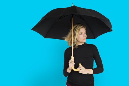 joyous: Caucasian Lady Black Umbrella Concept
