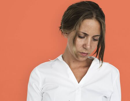 Woman Serious Studio Portarit Concept Stock Photo