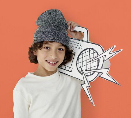 Little Boy Holding Jukebox Smiling Papercraft