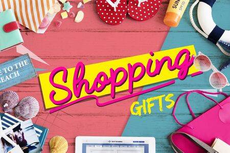 tabel: Shopping Sales Gift Voucher Online Stock Photo