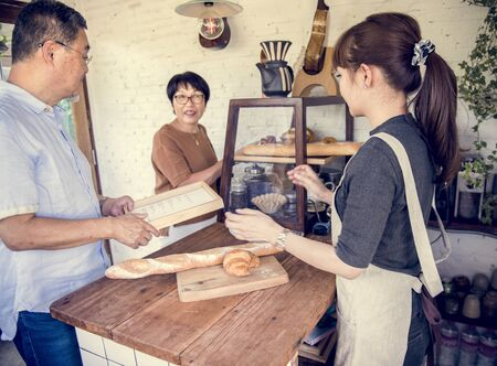 buying: Small bakery business buying customer Stock Photo