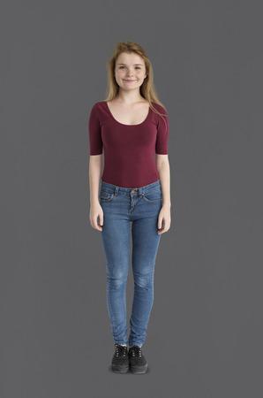 Caucasian girl standing Stock Photo - 111669681