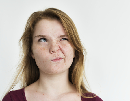 puckered: Girl annoyed face expression portrait