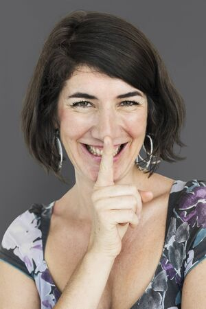 Caucasian Lady Smiling Hand Gesture Keep Quiet Stock Photo