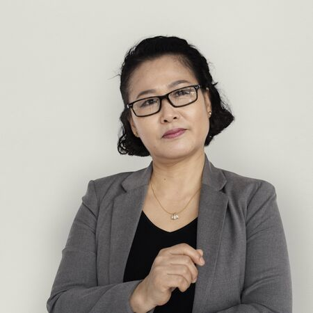 thinking woman: Asian Business Woman Thinking Stock Photo