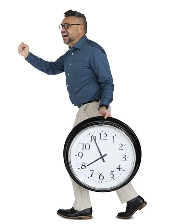 Caucasian Man Rushing Clock Stock Photo