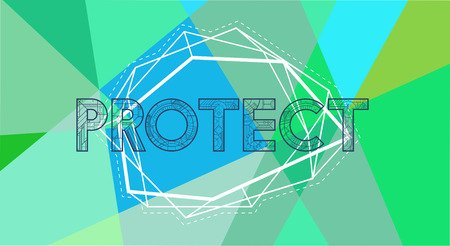 Protect word vector graphic design