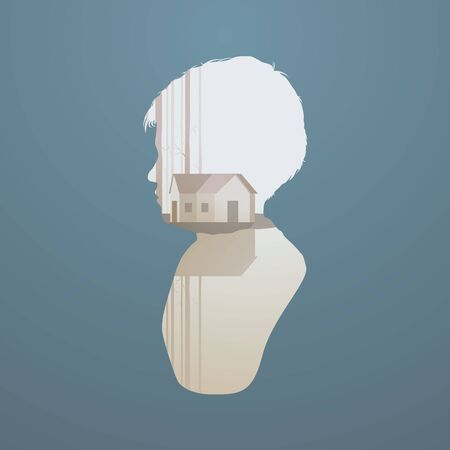 Children dreaming home vector abstract