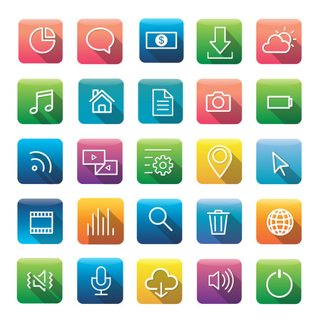 global settings: Icon Collection Vector Application Content
