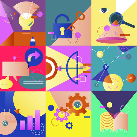 Icon Business Vector Set Colorful