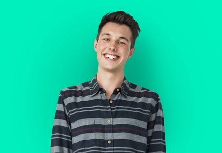 Portrait of Young Adult Caucasian Man Smiling Isolated Stock Photo