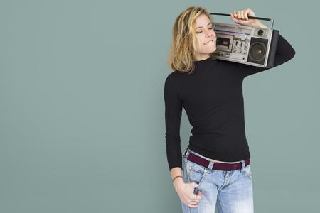 Woman with a portable radio concept Stock Photo - 112889264