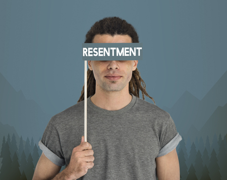 Man with resentment concept Stock Photo
