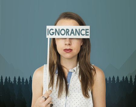 Woman with ignorance concept