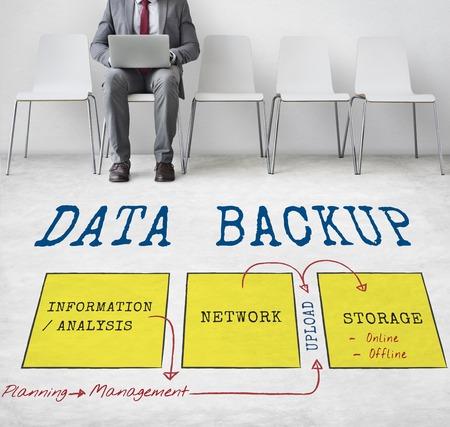 Businessman with data backup concept Фото со стока