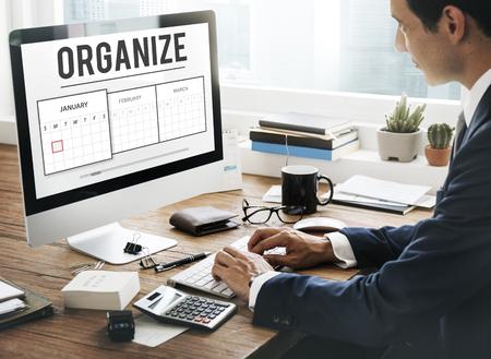 Organize concept on computer screen Archivio Fotografico